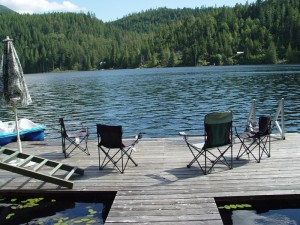 Chairs On Private Dock Overlooking North Lake